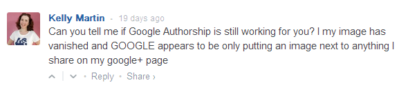 Question from blog reader on google authorship changes