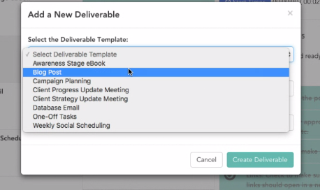 doinbound - screenshot showing Add New Deliverable