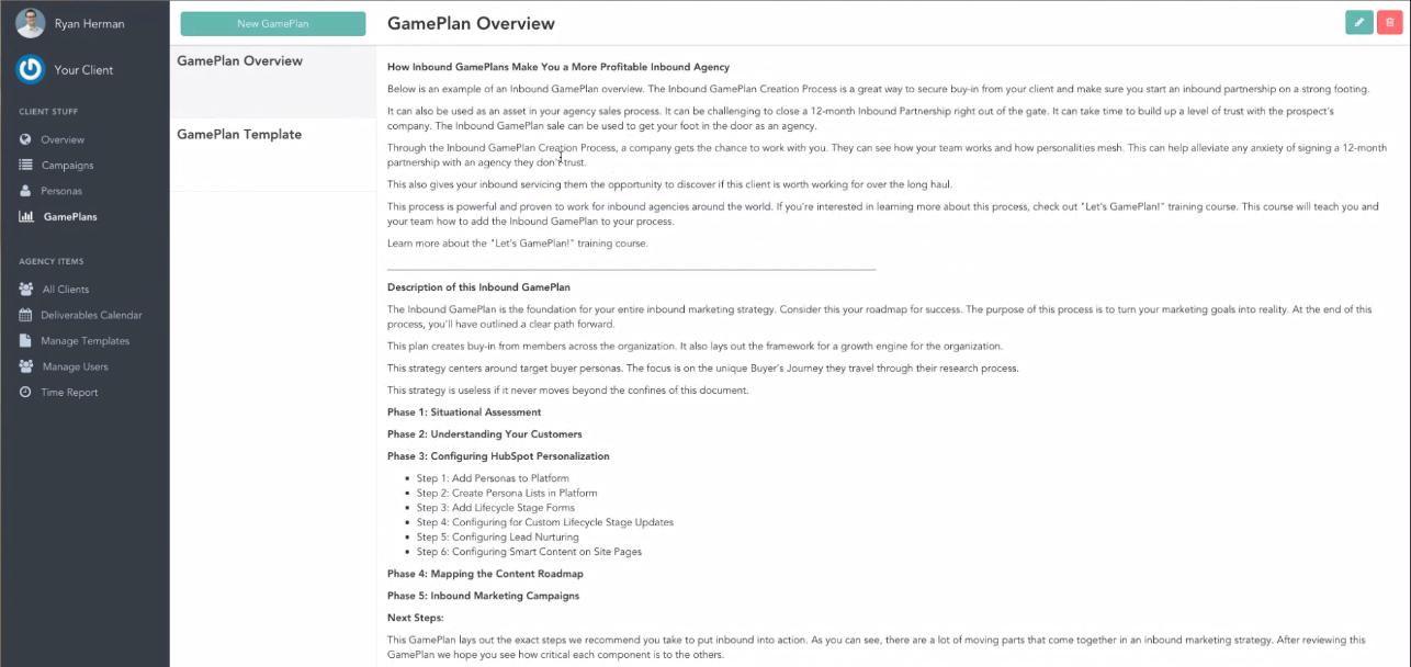 doinbound - screenshot showing Game Plan